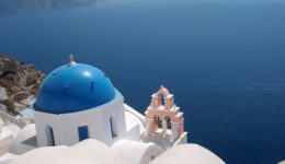 Postcard Classic of Oia with Blue Domed Church