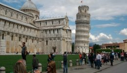Tower of Pisa with Tourists