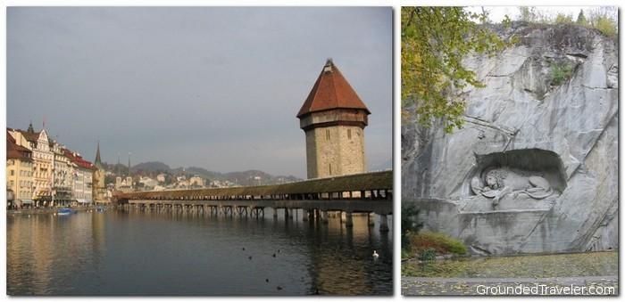 Wooden Bridge and Stone Lion in Luzern